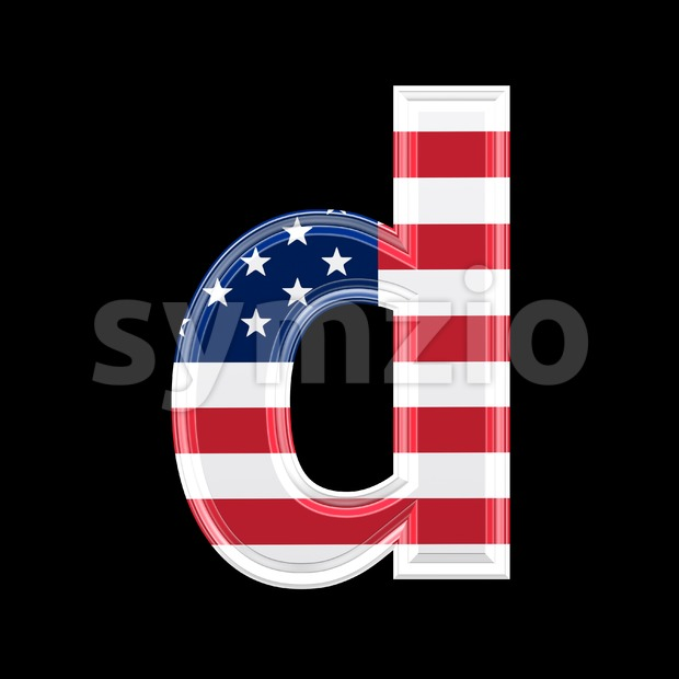 American letter D - Lowercase 3d font Stock Photo