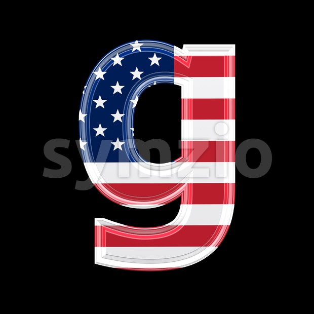 Lowercase American flag font G - Small 3d character Stock Photo