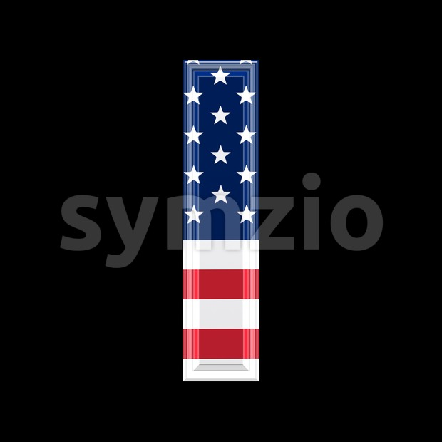 3d Small letter L covered in US flag texture - Lowercase 3d character Stock Photo