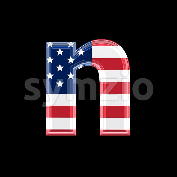 Lower-case American flag letter N - Small 3d font Stock Photo