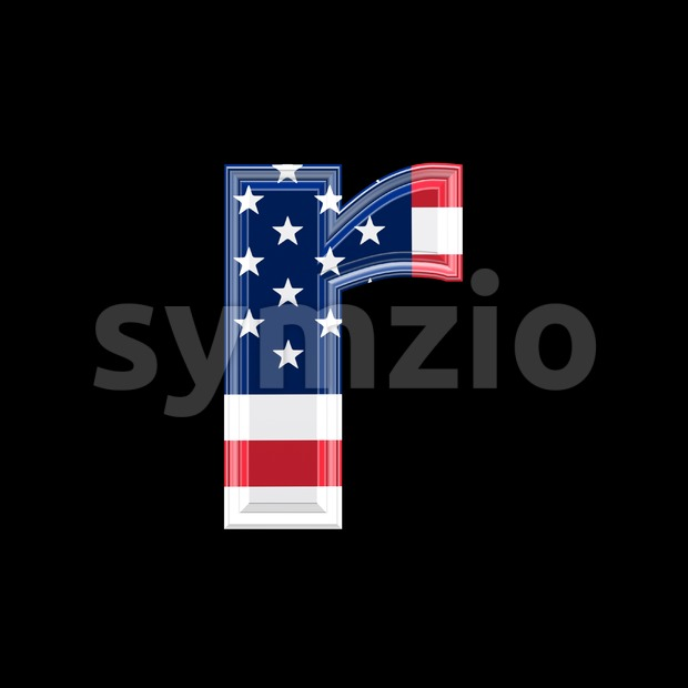 Small American flag character R - Lower-case 3d letter Stock Photo