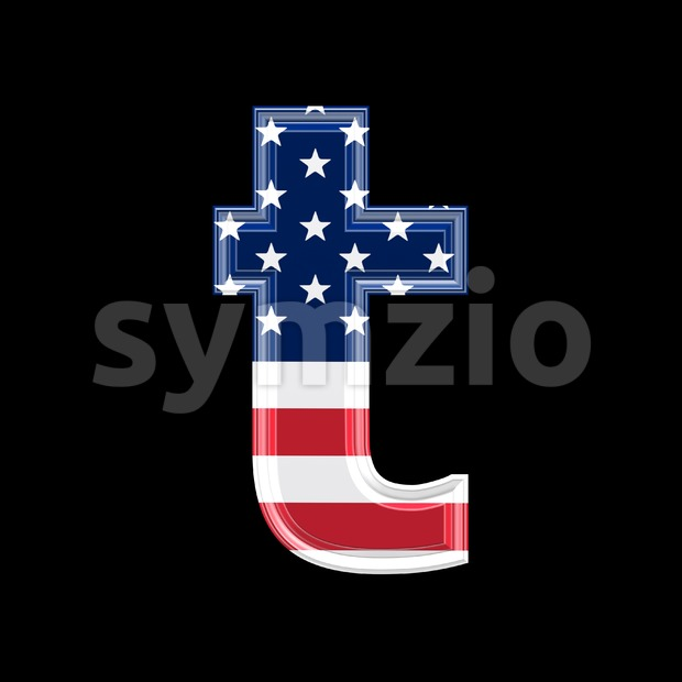American letter T - Lower-case 3d font Stock Photo