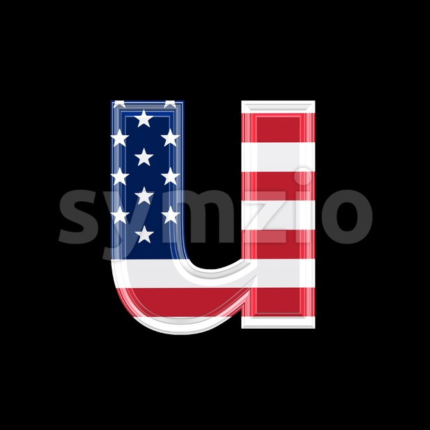3d Small character U covered in American texture Stock Photo