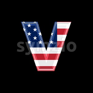 Lowercase American flag font V - Small 3d letter Stock Photo