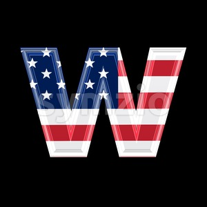 3d Lower-case letter W covered in US flag texture Stock Photo