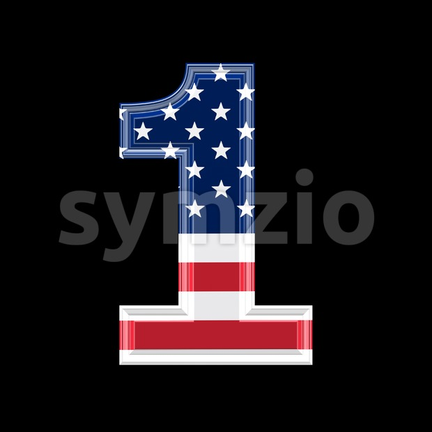 US number 1 - 3d digit Stock Photo
