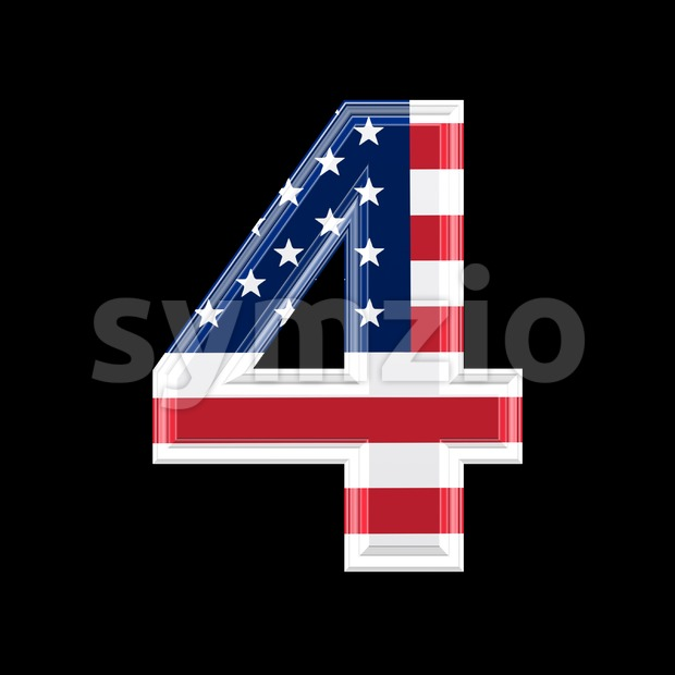 US digit 4 - 3d number Stock Photo