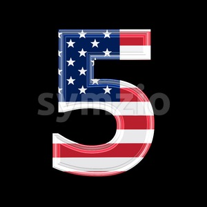 US number 5 - 3d digit Stock Photo