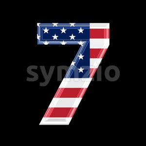 US number 7 - 3d digit Stock Photo