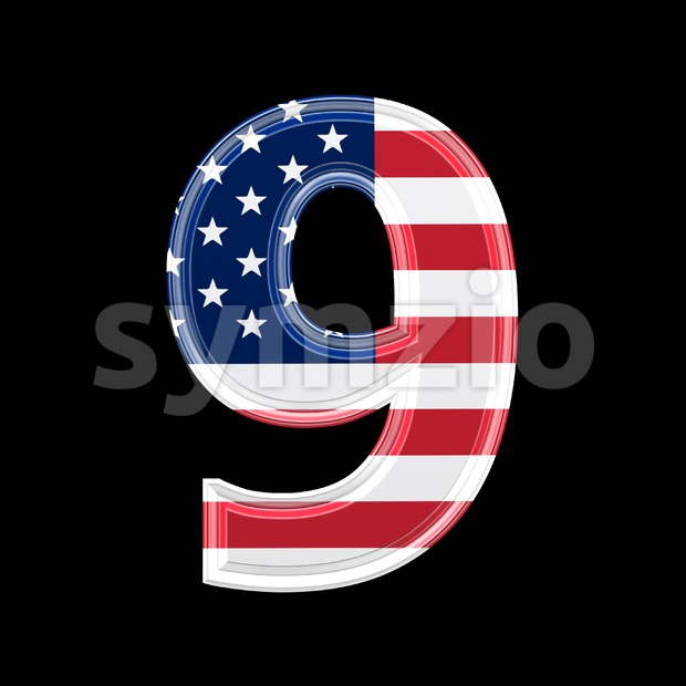 US number 9 - 3d digit Stock Photo
