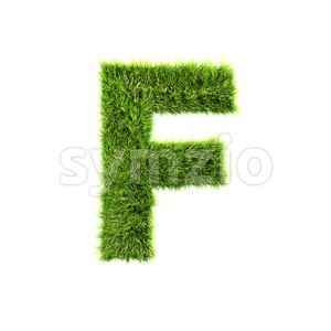 green grass letter F - Upper-case 3d font Stock Photo