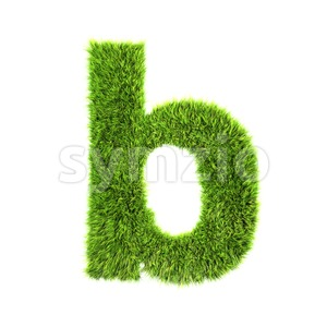 3d Lower-case character B covered in green herb texture Stock Photo