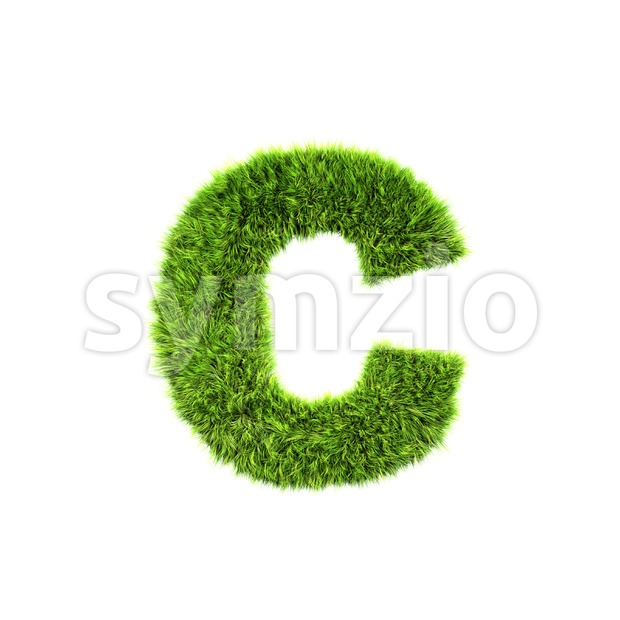 Small green grass font C - Lowercase 3d character Stock Photo