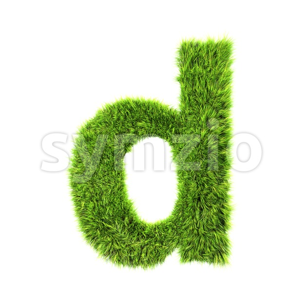green herb letter D - Lowercase 3d font Stock Photo