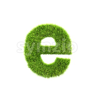green herb 3d character E - Lower-case 3d letter Stock Photo