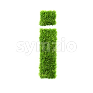 3d Small letter I covered in green herb texture Stock Photo
