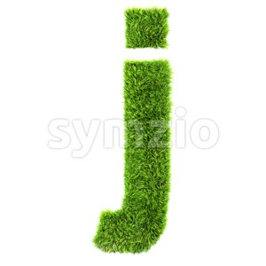 3d Lowercase character J covered in green grass texture Stock Photo