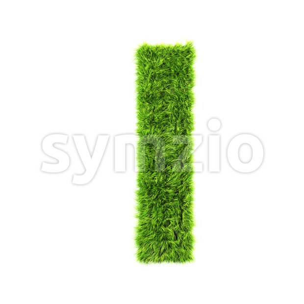 3d Small letter L covered in grass texture - Lowercase 3d character Stock Photo