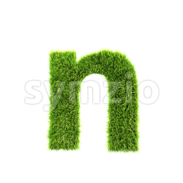 Lower-case green grass letter N - Small 3d font Stock Photo