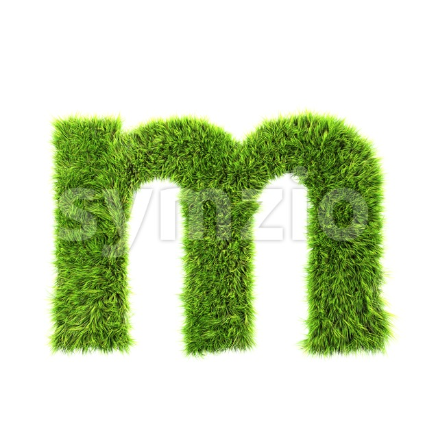 green herb 3d font M - Lowercase 3d letter Stock Photo