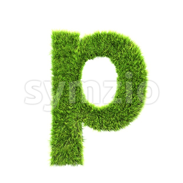 green herb character P - Lowercase 3d font Stock Photo