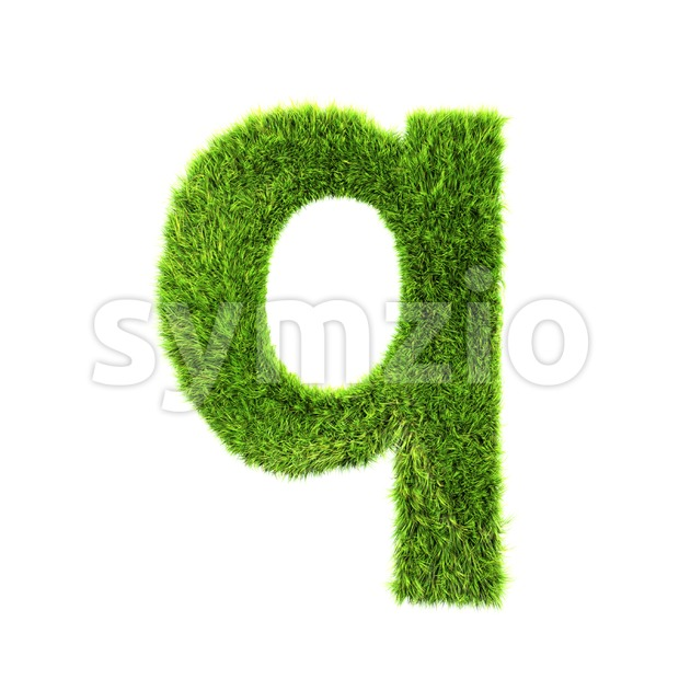3d Lower-case font Q covered in grass texture Stock Photo
