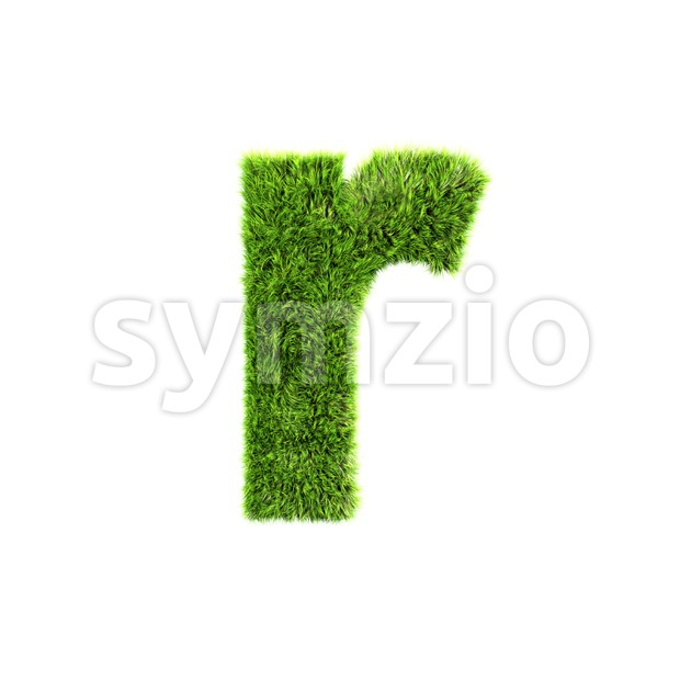 Small green grass character R - Lower-case 3d letter Stock Photo