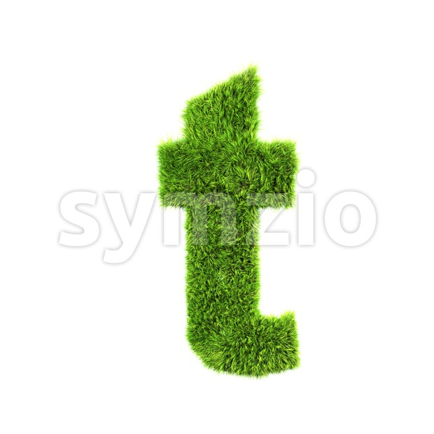 green herb letter T - Lower-case 3d font Stock Photo