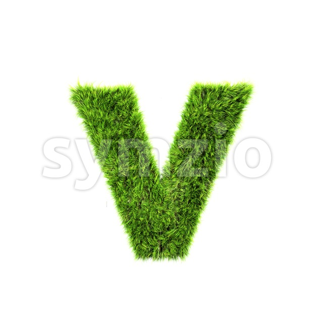 Lowercase green grass font V - Small 3d letter Stock Photo