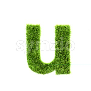 3d Small character U covered in green herb texture Stock Photo
