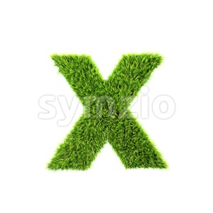 green grass 3d font X - Small 3d letter Stock Photo
