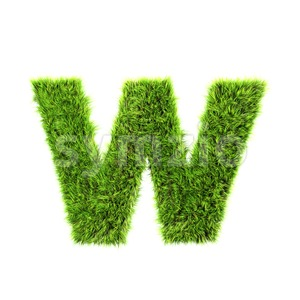 3d Lower-case letter W covered in grass texture Stock Photo
