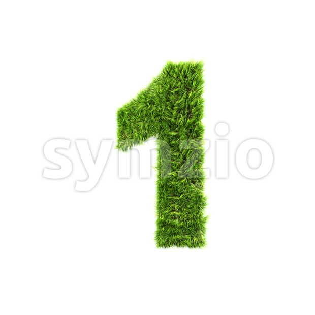 Grass number 1 - 3d digit Stock Photo