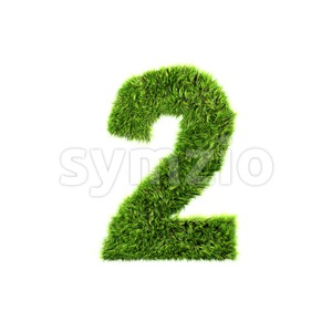 Grass digit 2 - 3d number Stock Photo