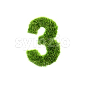 Grass number 3 - 3d digit Stock Photo