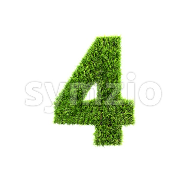 Grass digit 4 - 3d number Stock Photo