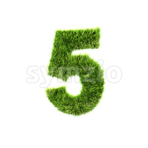 Grass number 5 - 3d digit Stock Photo