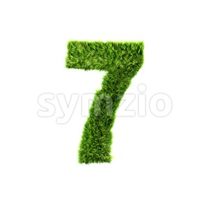 Grass number 7 - 3d digit Stock Photo