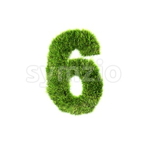 Grass digit 6 - 3d number Stock Photo