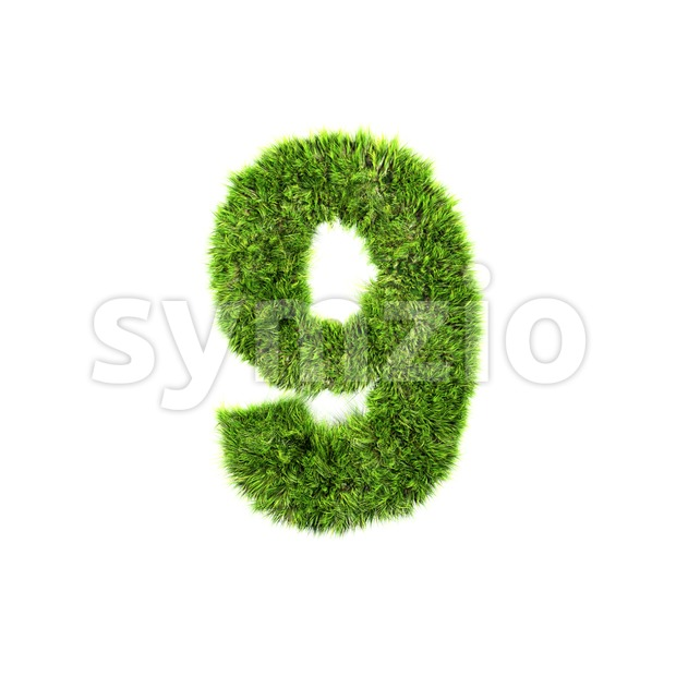 Grass number 9 - 3d digit Stock Photo