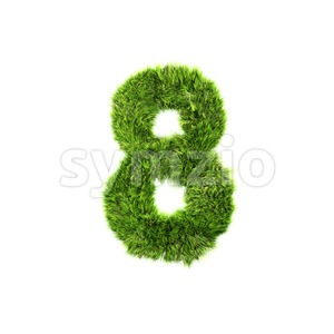 Grass digit 8 - 3d number Stock Photo