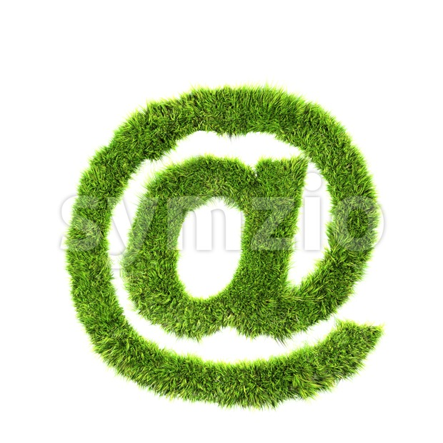 Grass at-sign - 3d arobase symbol Stock Photo