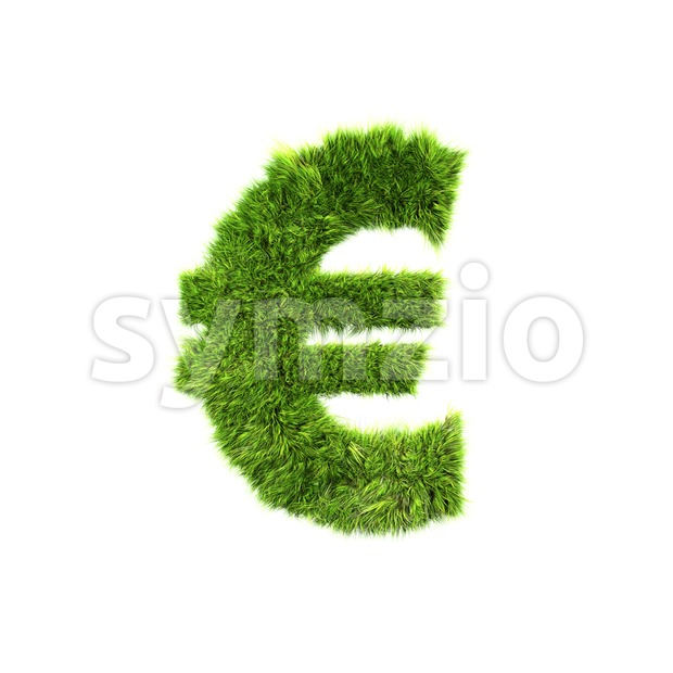 Grass euro currency sign - 3d business symbol Stock Photo