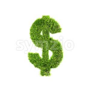 Grass dollar currency sign - 3d money symbol Stock Photo