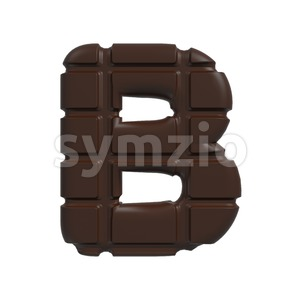Capital chocolate tablet letter B - Upper-case 3d font Stock Photo
