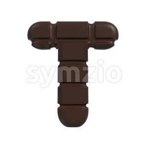 chocolate tablet character T - Uppercase 3d letter Stock Photo