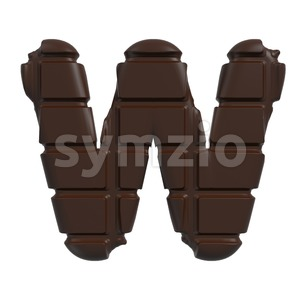 chocolate tablet font W - Capital 3d letter Stock Photo