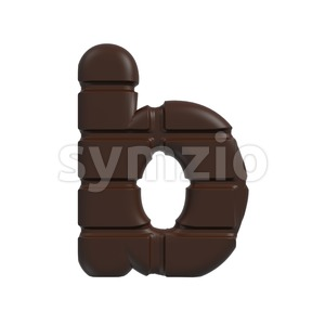 3d Lower-case character B covered in chocolate texture Stock Photo
