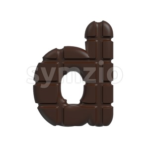 chocolate letter D - Lowercase 3d font Stock Photo