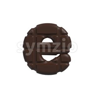 chocolate 3d character E - Lower-case 3d letter Stock Photo